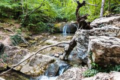 Rapids on Ulu-Uzen river in Haphal Gorge in Crimea Stock Photography