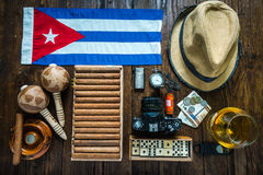 Travel to Cuba concept. Related items on table flat lay. Stock Photo