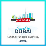 Travel to Dubai. Travel Template Banners for Social Media. Hot Deals. Best Offers Royalty Free Stock Photos