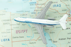 Travel to Egypt. Concept - toy airplane in middle east map Royalty Free Stock Photos