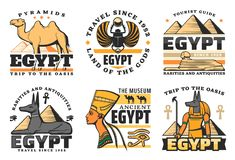 Egypt travel icons, pyramids and Sphinx. Travel to Egypt, great pyramids isolated icons. Vector camel and scarab, sphinx and Pharaoh Hound, Nefertiti queen and vector illustration