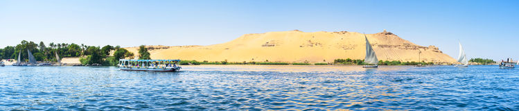 Travel to Egypt. Panorama of the western bank of Nile river with the famous ancient landmark, Aswan, Egypt Stock Photo