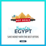 Travel to Egypt. Travel Template Banners for Social Media. Hot Deals. Best Offers Royalty Free Stock Images