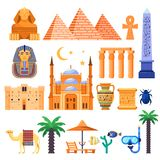 Travel to Egypt vector icons and design elements. Egyptian national symbols and ancient landmarks flat illustration royalty free illustration