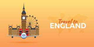 Travel to England. Airplane with Attractions. Travel  banners. Flat style. Royalty Free Stock Photos