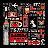 Travel to England set Royalty Free Stock Photos