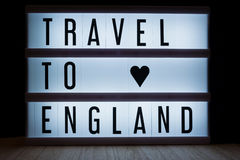 Travel to England. `Travel to England` text in lightbox royalty free stock photos