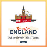 Travel to England. Travel Template Banners for Social Media. Hot Deals. Best Offers Royalty Free Stock Images