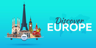Travel to Europe. Airplane with Attractions. Travel  banners. Flat style. Royalty Free Stock Photography
