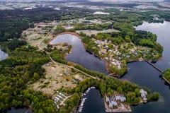 Travel to Europe, amazing nature. Trakai city aerial landscape royalty free stock photography
