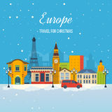 Travel to Europe for christmas. Merry Christmas greeting card design. Stock Image