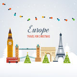 Travel to Europe for christmas. Merry Christmas Stock Photo