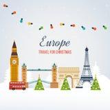 Travel to Europe for christmas. Merry Christmas Stock Photo
