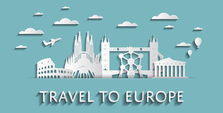 Travel to Europe concept cityscape silhouettes Royalty Free Stock Image