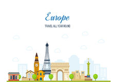 Travel to Europe. French and England landmarks royalty free illustration