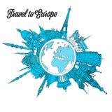 Travel to Europe Landmarks on Globe stock illustration