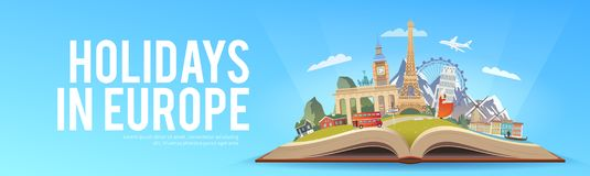 Travel to Europe. Road trip. Tourism. Open book with landmarks. Europe Travel Guide. Advertising web illustration. Summer vacation. Travelling banner. Modern Royalty Free Stock Images