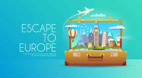 Travel to Europe. Trip to Europe. Travel to Europe. Vacation to Europe. Time to travel. Road trip. Tourism to Europe. Travel banner. Open suitcase with Stock Image