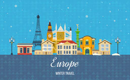 Travel to Europe for winter. Merry Christmas Royalty Free Stock Images