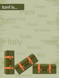 Travel to. Flyer with a picture of suitcases and inscriptions cities Royalty Free Stock Image