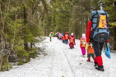 Travel to the forest of schoolchildren stock photos