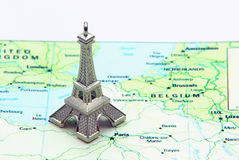 Travel to France. Eiffel Tower on France map Stock Photography