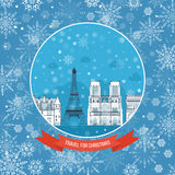 Travel to France for christmas. Greeting card Stock Image