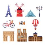 Travel to France design elements. Paris tourist landmarks illustration. Vector cartoon isolated icons set. royalty free illustration