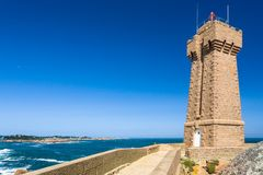 Edifice of Mean Ruz lighthouse in Ploumanach site. Travel to France - edifice of Mean Ruz lighthouse in Ploumanac'h site on English Channe coast in Perros-Guirec Stock Photo