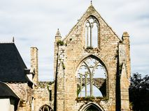 Front view of facade of ruined Abbaye de Beauport. Travel to France - front view of facade of ruined church of Abbaye de Beauport ( (abbey) in Kerity district of Stock Image