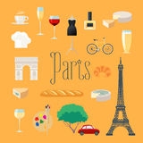 Travel to France, Paris vector icons set Stock Photography