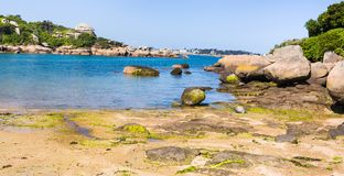 Part of Saint-Guirec beach of Perros-Guirec. Travel to France - part of Saint-Guirec beach of Perros-Guirec commune on Pink Granite Coast of Cotes-d'Armor Royalty Free Stock Image