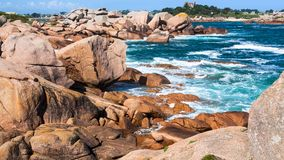rocky shore of English Channel in Ploumanac'h site Stock Images