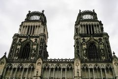 towers of Sainte-Croix Cathedral in Orleans Stock Photo