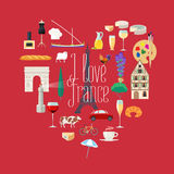 Travel to France vector icons set in heart shape Stock Images