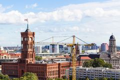 Above view of Berlin city with Rotes Rathaus Royalty Free Stock Photography