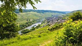 above view of town in valley of Mosel river Royalty Free Stock Photo