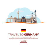 Travel to Germany, Berlin Poster skyline. Reichstag, Brandenburg Gate. Vector illustration. Royalty Free Stock Image
