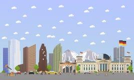 Travel to Germany concept vector illustration. Berlin city landscape. German landmarks and destinations.  vector illustration