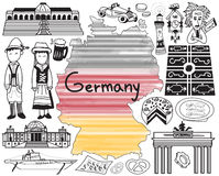 Travel to Germany doodle drawing icon Stock Images