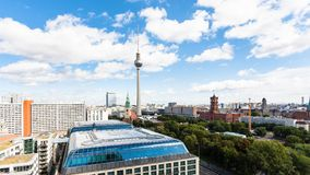 Panoramic view of Berlin city with TV tower. Travel to Germany - panoramic view of Berlin city with TV tower and Rotes Rathaus from Berliner Dom in september Royalty Free Stock Images