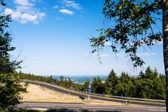 Road on Rimberg mount in Hesse State of Germany. Travel to Germany - road on Rimberg mount to Rest and Service Station on Autobahn A5 motorway near Breitenbach Stock Images