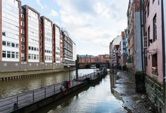View of Nikolaifleet canal in Hamburg city Royalty Free Stock Image