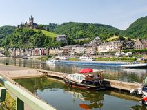 Waterfront of Cochem city in summer day Royalty Free Stock Photo