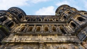 Ancient roman monument Porta Nigra in Trier. Travel to Germany - wall of ancient roman monument Porta Nigra (Black Gate) in Trier town Royalty Free Stock Images