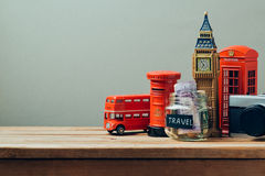 Travel to Great Britain concept with souvenirs. Planning summer vacation Royalty Free Stock Image