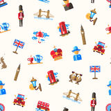 Travel to Great Britain pattern with famous British symbols Royalty Free Stock Images