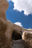 Travel to great wonders of nature of troglodyte in blue sky, cappadocia, turkey Stock Photos