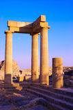 Travel to Greece. Ruins of ancient temple. Lindos Acropolis. Rhodes island. Greece Stock Photos