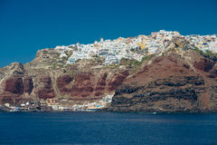Travel to Greece. Beautiful  Santorini. Architecture of island of Santorini, the most romantic island in the world, Greece. Hotels in Santorini. Walking the Stock Photos